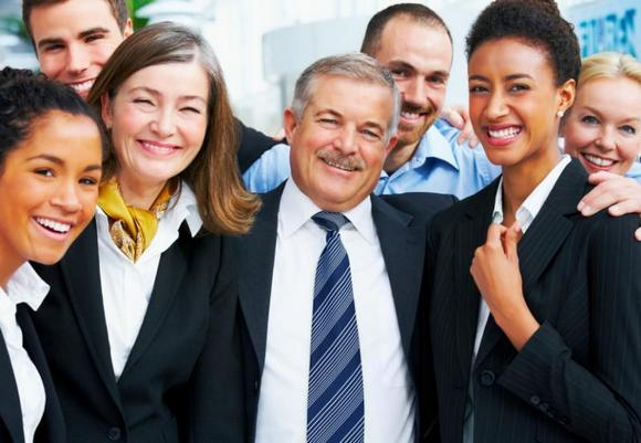 Smiling group of business people