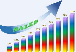Sales chart illustration, with arrow pointing up