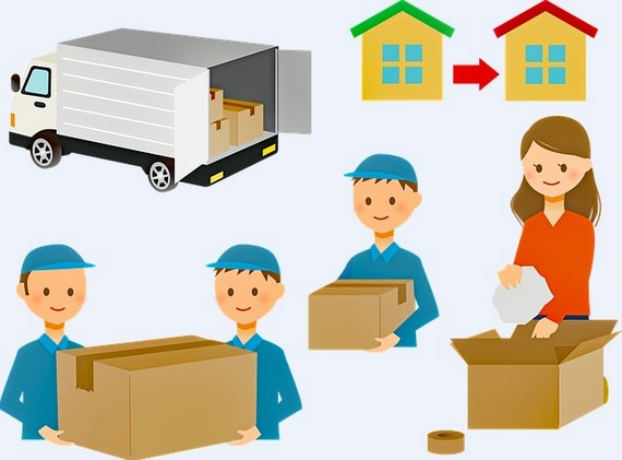 A drawing of movers moving a house.
