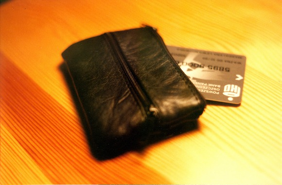 A small wallet with a card