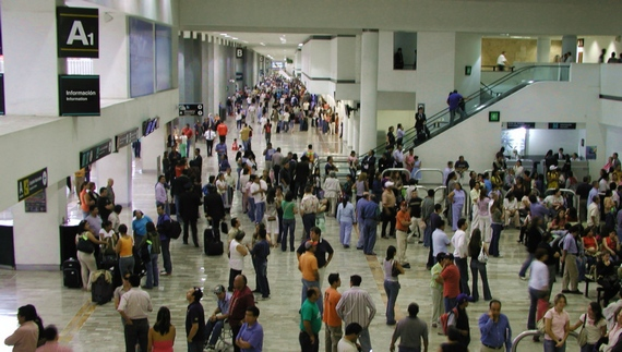 Passenger crowds at airport