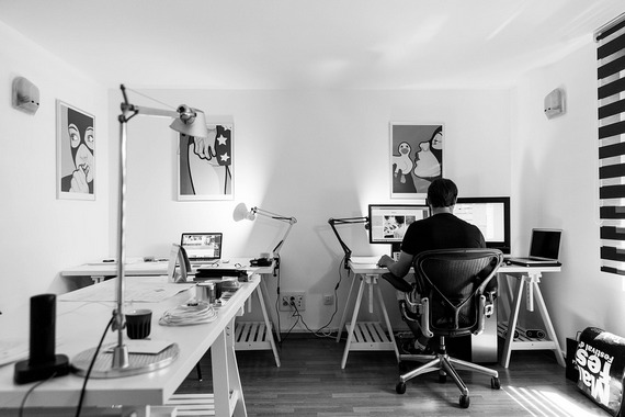 A person working from a home office.